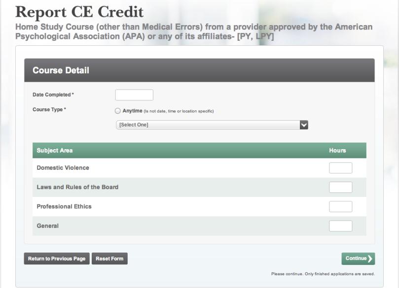 Report CE Credit