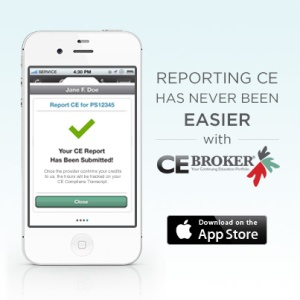 CE Broker's iPhone App. Continuing Education Simplified.