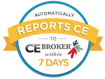 """Automatically Reports to CE Broker Within 7 Days"" Badge."