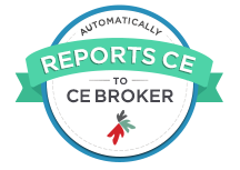 """Automatically Reports to CE Broker Within 30 Days"" Badge."