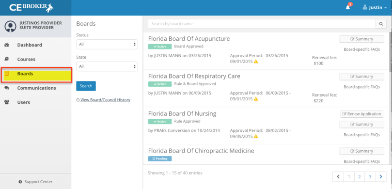 Provider Suite Boards