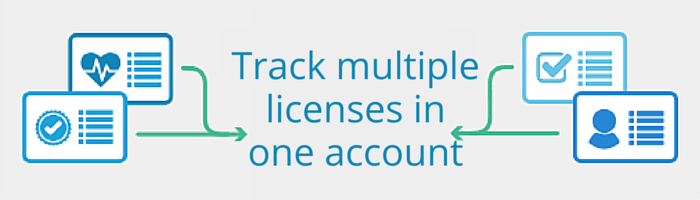 Track multiple licenses in one account